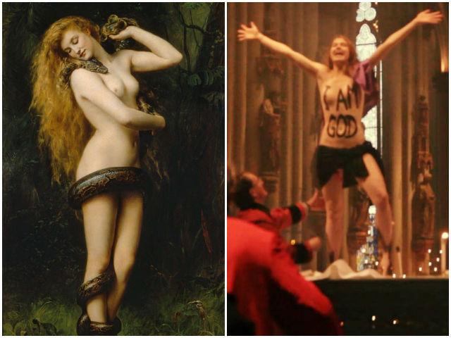 Á esquerda pintura a óleo de John Collier representando Lilith. Á direita, ativista do Novo Feminismo em ato de afronta, desrespeito e insanidade dentro de uma igreja (Imagem: Femen). Seria o mitológico demônio inspiração para o novo feminismo?
